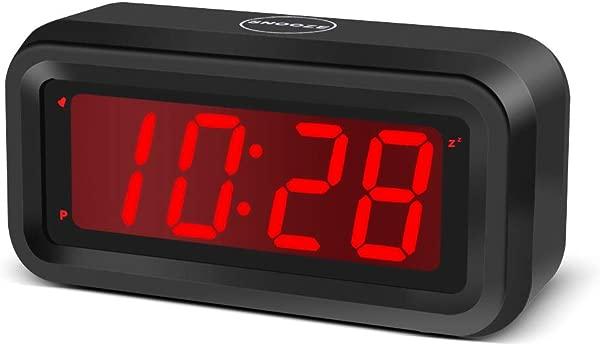 EUTUKEY Digital Alarm Clock Battery Powered LED Travel Clock 4pcs AA Batteries Keep Clock Running More Than 1 Year