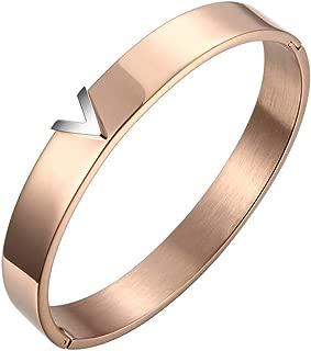Rose Gold Titanium Steel V Shape Love Bracelet