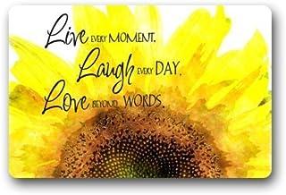 Fashion Decorative Door Mat Rug Watercolor Sunflower with Live Laugh Love Quotes Indoor/Outdoor/Floor Doormat
