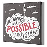 The Mindful Word Inspirational Canvas Wall Art - 20 x 20 Inches - Motivational Quote for Bedroom, Office, Living Room, Kitchen