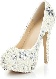 Women's High Heels Wedding Shoes, Stiletto Heel High 14Cm Pearl Rhinestone Flower Shallow Mouth Sexy Platform High Heels Non-Abrasive Feet for Banquet Wedding