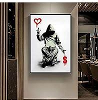 現代の銀行家の壁の芸術壁の芸術ポスターのドルキャンバスの絵画は居間の装飾のための壁の絵を印刷します壁画70x90cmフレームレス