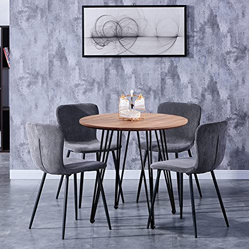 GOLDFAN Modern Dining Table and 4 Chair Set Round Wooden Brown Table and Soft Grey Velvet Chairs for Kitchen Dining Room
