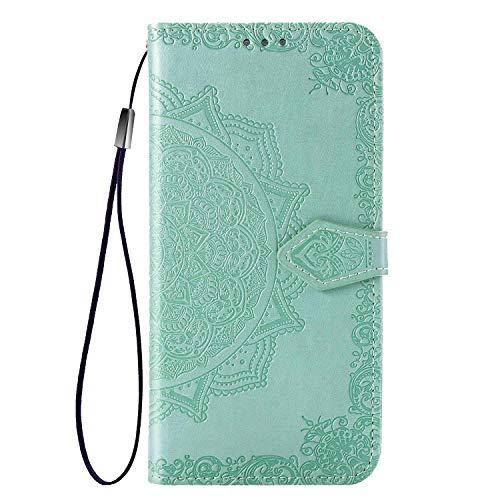 Fertuo Hülle für Poco M3, Handyhülle Leder Flip Hülle Tasche mit Kartenfach, Magnet & Standfunktion [Mandala Muster] Handy Schutzhülle Ledertasche für Xiaomi Poco M3, Grün