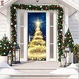 ZhixiaYS 3D Christmas Door Decal Sticker Christmas Santa Door Stickers Decor Door Wall Mural Wallpaper Removable Door Cover Decoration