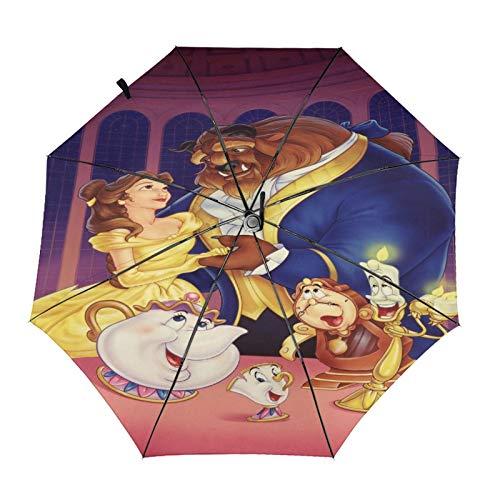 Paraguas Anti-Ultravioleta Compacto De Viaje Triple De Apertura/Cierre Automático, Sombrilla Plegable A Prueba De Viento para Exteriores, Disney La Bella Y La Bestia Candelabro Reloj Tetera