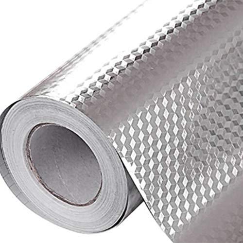 SODIAL 5M 3D Pegatina A Prueba De Aceite De Aluminio De Rejilla Cúbica De Naranja De Cocina Papel Pintado De Vinilo Plata Adhesivo A Prueba De Agua De Eabinete Estufa Nuevo