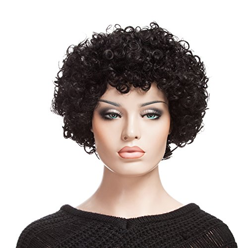 Afro Wig, YOPO Short Curly Wigs for Women, Free Cap & Bobby Pins, Cosplay Wig ¡