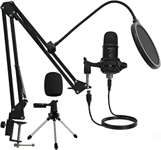 MIRFAK TU1 Professional Kit Desktop Microphone Large Diaphragm, USB Condenser Microphone,Built-in Echo Effect with Adjustm...