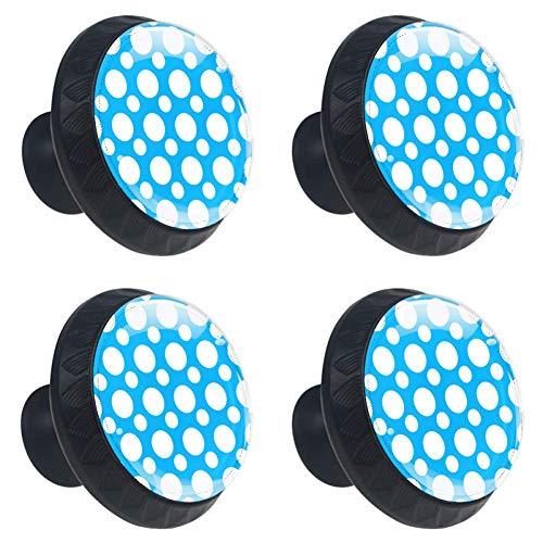 TIZORAX cirkels blauwe achtergrond lade knoppen Pull handgrepen 30MM 4 Stks glazen kast lade trekkers voor thuis keuken kast