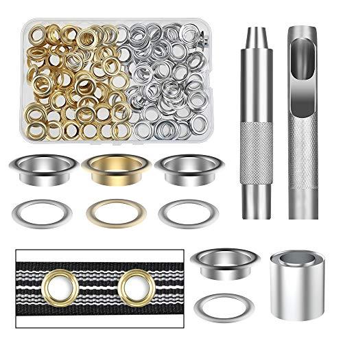 Vastar ösen Werkzeugset aus Reinem Kupfer, 100 Teile (1/2 Zoll ID) 50 Farben in Gold und Silber mit Aufbewahrungsbox, Geeignet für Lederplanen und Andere Stoffe, Langlebig
