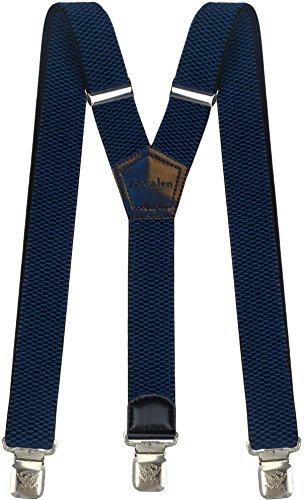 Hosenträger für Herren breit extra starken 4 cm mit 3er Clips Y-Form Lange für Männer und Damen Hose (Blau)