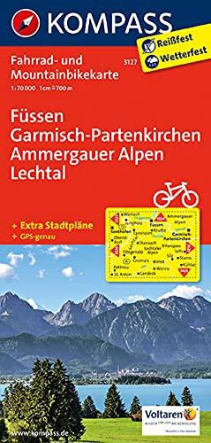 KOMPASS Fahrradkarte Füssen - Garmisch-Partenkirchen - Ammergauer Alpen - Lechtal: Fahrrad- und Mountainbikekarte. GPS-genau. 1:70000 (KOMPASS-Fahrradkarten Deutschland, Band 3127)