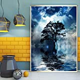 AQgyuh Puzzle 1000 Piezas Fotos de Paisaje de Cielo Azul Nubes Blancas Luna y Jet Puzzle 1000 Piezas Adultos Juego de Habilidad para Toda la Familia, Colorido Juego de ubicación.50x75cm(20x30inch)