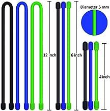 9pcs/set Original Silicone Cable Tie, Reusable Rubber Twist Tie, Cable Tie Straps, 4-Inch,6-Inch,12-Inch.