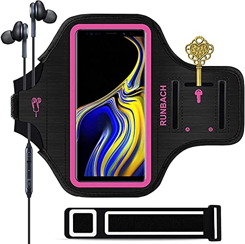 Galaxy Note 20/10+/9/8 Armband,RUNBACH Sweatproof Running Exercise Cellphone Sportband Bag with Fingerprint Touch and Card Slot for Samsung Galaxy Note 20/Note 10+/Note 9/Note 8(Pink)
