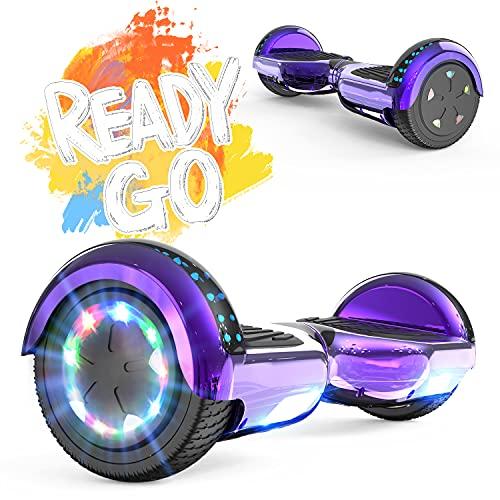 FUNDOT Hoverboards,Hoverboards Kinder,Self Balance Scooter 6,5 Zoll, Hoverboards mit schönen LED-Lichtern,Elektroroller mit Bluetooth-Lautsprecher, Geschenk für Kinder