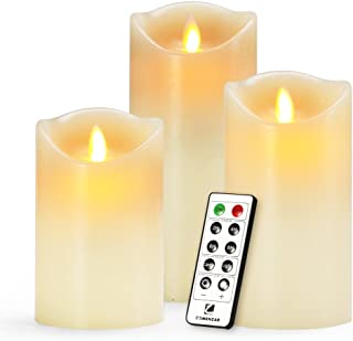 YaFex Flickering Flameless LED Candles, Battery Operated with 10-Key Remote Timer, Set of 3