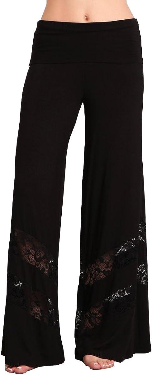 HEYHUN Womens Casual Tie Dye Solid Wide Leg Bottom Boho Hippie Lounge Palazzo Pants S-3XL