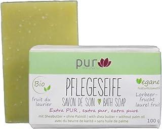 Manufaktur Pur Pflegeseife Olive-Lorbeer 100 g Bio Natur-Olivenölseife ohne Duft