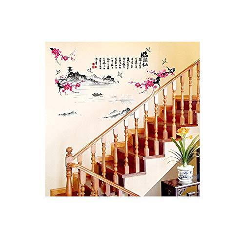Muursticker Fotobehang Sepia Inkt Schilderen Creatieve Decoratieve Muurposters Studie Zelfklevende Behang Waterdichte Kalligrafie Sticker 65 * 105cm