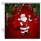 JAWO Weihnachtliche Duschvorhänge für Badezimmer, weihnachtlicher Weihnachtsmann mit Tannenzweigen, roter Weihnachts-Badezimmerdekoration, wasserdichter Stoffvorhang mit Haken