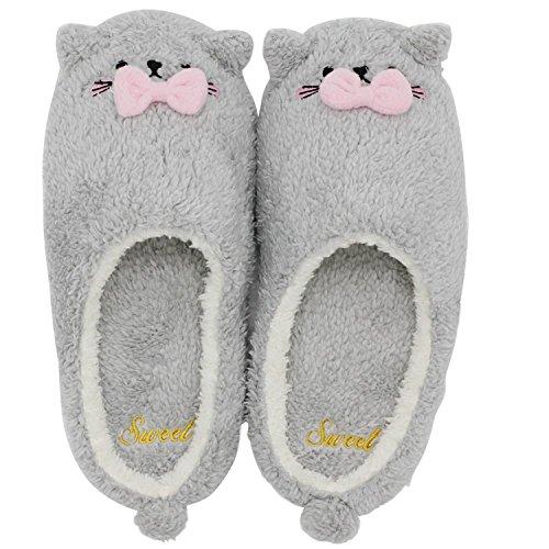 Minetom Mujer Niña Otoño Invierno Suave Zapatillas De Casa Caliente Forro De Felpa Pantuflas Dibujos Animados Antideslizante Zapatos Planos Gris EU 38 39