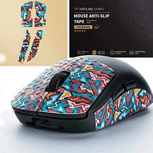 Hotline Games Colorful Mouse Grip Tape for Logitech G PRO Wireless Gaming Mouse Anti-Slip Tape,Non-Fading,Pre-Cut,Easy to Use,Sweat Resistant,Professional Mice Upgrade Kit