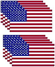 Decals by Haley 10 Pack American Flag Stickers - Made of 3M Vinyl - USA Patriotic Stickers - Bubble-Free Adhesive - Dishwasher Safe & Weatherproof Ink - Vinyl Decals for Car, Truck - 3 x 5.7 Inches
