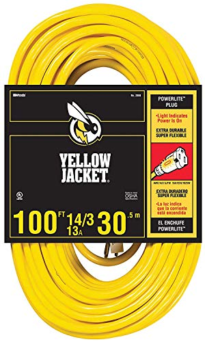 Yellow Jacket GIDDS-283431 2888 Contractor Extension Cord with Lighted Ends, 100 Foot, Ft