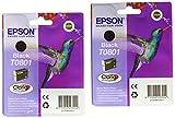 Epson T0801 - Pack 2 x cartuchos de tinta para impresoras Epson D78 Stylus, color negro, Ya disponible en Amazon Dash Replenishment