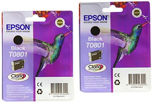 Epson T0801 x2 Original, Packung mit 2 Tintenpatrone schwarz