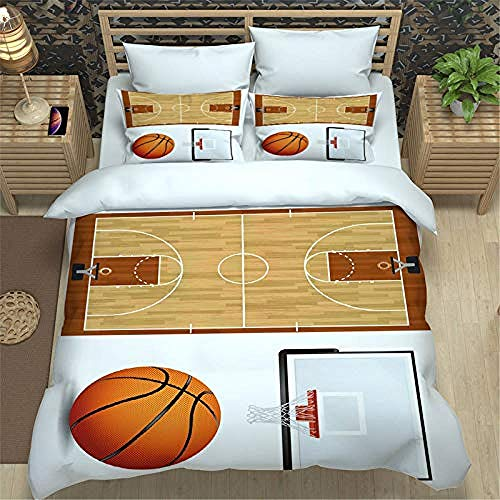 YYZCM Duvet Cover with 2 Pillowcases 3D Printed Basketball court Bedding Set with Zipper Closure Unique Design Anti-allergic Double Duvet Cover Set Single,Double size 200x200cm/78.5x78.5 inches