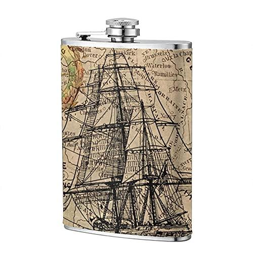 mengmeng Frasco de bolsillo portátil de 8 onzas con diseño de brújula náutica antigua, de acero inoxidable, para escalada, camping, barbacoa, bar, fiesta, bebedor