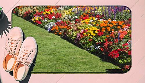 DIIRCYB Fu?Matte Indoor Outdoor rutschfeste waschbare Fu?Matte,Beautiful Garden Flower Bed,DIY Cropping Teppich,F¨¹r Hauptk¨¹Che Schlafzimmer Badezimmerboden Carpet19.5' X 30.5'