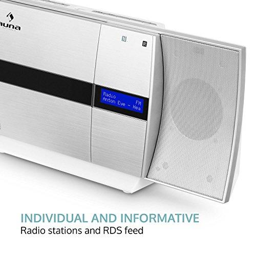 auna V-20 - Vertikal Stereoanlage, Microanlage, CD-Player, MP3, DAB+ Tuner, UKW-Empfänger, Bluetooth, NFC, Standaufstellung oder Wandmontage, USB, Fernbedienung, LED-Display, AUX, Silber