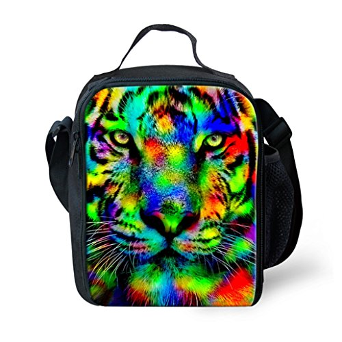 Dellukee Insulated Lunch Bag 3D Colorful Tiger Printed Beautiful Cute Pattern Best Personalized School Office Travel Handbags Lunch Tote Box Black For Kids Teen Boys Girls
