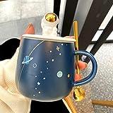 HRDZ Taza de cerámica con Forma de Planeta con Tapa, Cuchara, Leche, Taza de café, Linda Taza de Pareja de Estudiantes Masculinos y Femeninos