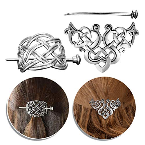 Beaupretty 2Pcs Vintage Celtic Hair Clips Hairpins,Silver Hair Sticks Ponytail Holders Clips Alloy Headdress Viking Jewelry Hair Clips Pins