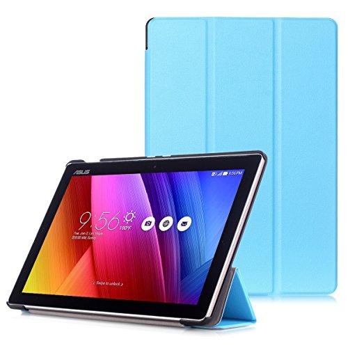 ASUS ZenPad 10 Funda - Carcasa Ultra Delgado con Cubierta de Soporte y Función Auto Sueño/Estela para ASUS ZenPad 10 Z301M / Z301ML / Z301MF / Z301MFL / Z300M / Z300C 10.1' Tablet, Azul Claro