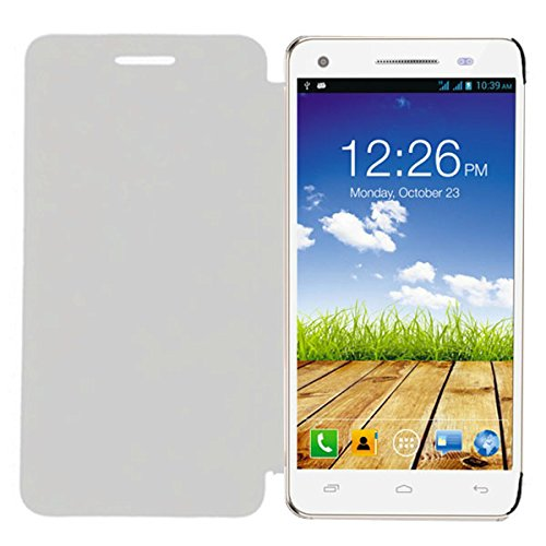 Acm Leather Diary Folio Flip Flap Case Compatible with Micromax Canvas 4+ Plus A315 Mobile Front & Back Cover White