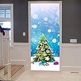 Puerta Pegatinas Mural para puerta interior 3D Autoadhesivo Impermeable PVC DIY Art Mural de puerta Decoración De Habitaciones De Niños Y Niñas 77X200cm árbol de Navidad