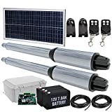Automatic Solar Gate Openers with Remote Complete Kit Heavy Duty 24V AC/DC Dual Swing Gate Opener 16.4ft/880lbs for Fences/Palisades/Agricultural/Driveway Gates