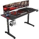 EUREKA ERGONOMIC Escritorio de computadora para videojuegos de 55 pulgadas, mesa de PC para juegos, estación de trabajo, diseño de patas de polígono con luces LED RGB, 55 pulgadas, color negro