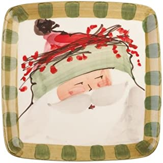 Vietri Old St. Nick Square OSN-7801B Salad Plate, Christmas Tableware w/ Santa in Green Hat