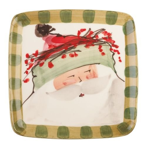 Vietri Old St. Nick Square OSN-7801B Salad Plate, Christmas Tableware w/Santa in Green Hat