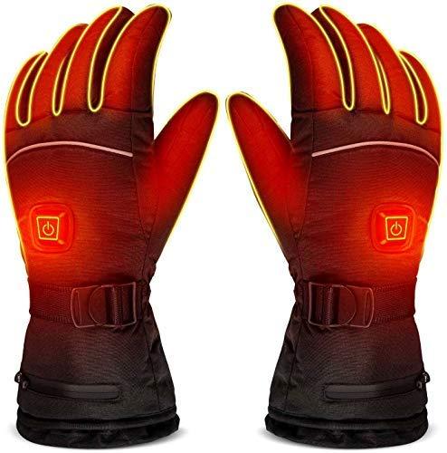 Z-YQL - Guanti per riscaldamento a batteria elettrica, temperatura regolabile, per uomo/donna, impermeabili, caldi guanti per ciclismo, moto, escursionismo, sci, alpinismo