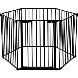 COSTWAY Cancelletto di Sicurezza Barriera Protettiva per Camino Bambini Animali Domestici Scale, Pieghevole, Inclusa Una Porta e 6 Elementi Laterali, in Ferro, 380 x 74,5cm (Nero)