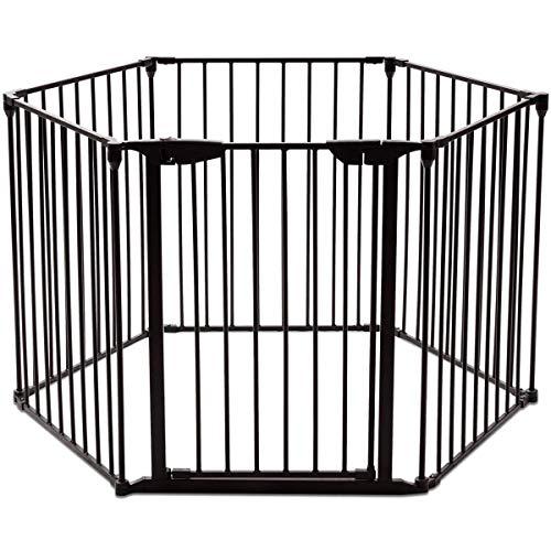 COSTWAY Barrière de Sécurité Enfant Clôture de Cheminée en FerPare-Feu de Cheminée6 Pans 380x75cm (Noir)