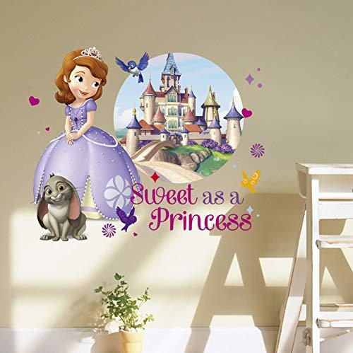 Kibi Princesses Sofia Stickers Muraux Disney Mur De Fond De Chambre D'enfants, Stickers Mural Enfant Fille Chambre Bebe Art Décoratif Wall Sticker Kids Autocollants Princesse Sofia Amovibles (B)